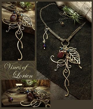 Vines of Lorien - wire sculpture necklace collage